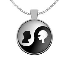 UFO Alien necklace - Alien human Yin Yang - extraterrestrial area 51 i believe