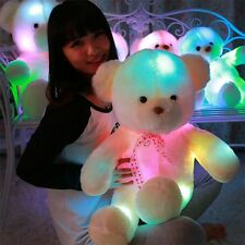 50CM Colorful Glow LED Light Plush Bear Doll Throw Pillow Toy Friends Gift UL