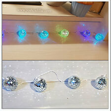 10 Changing Xmas Christmas Lights Mosaic Mirror Disco Balls Led Colours 2.10m