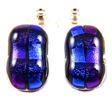 "DICHROIC Post EARRINGS Blue Sapphire Purple Groovy Fused GLASS STUDS 3/4"" 19mm"