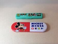 2 Disney Mickey Mouse Vintage Comic Chopsticks & Case Sets from Japan New