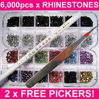 6000 NAIL ART RHINESTONES ACRYLIC GEMS CRYSTAL DECORATION 2 FREE PICKERS! UK!