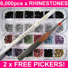 6000 NAIL ART RHINESTONES ACRYLIC GEMS CRYSTAL DECORATION 2 FREE PICKERS! UK!