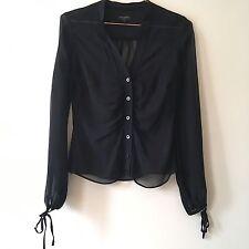 Ted Baker 1 Reino Unido 8 negro puro 100% Seda Blusa Camisa Bordada Blogger Celebridad