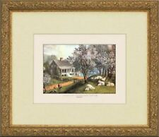 4 Currier Ives Framed Americana Prints American Homestead Four Seasons