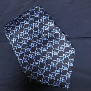 Gianni Versace Tie 100% Silk Blue Black Medusa Pattern Mens Rare Necktie
