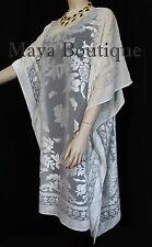 Burnout Velvet Caftan Dress Duster Kimono Black Fringes Maya Matazaro USA