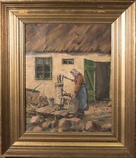 """Oil Painting on Canvas """"Woman Pumping Water"""" Listed Danish Artist, Monogram """"FS"""""""