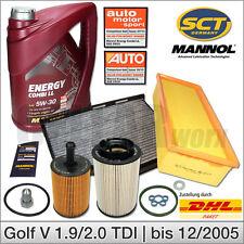 VW Golf 5 1.9 & 2.0 TDI bis Bj 12/2005   Inspektionspaket Filterset + 5L 5W30 Öl