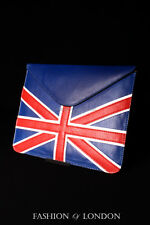 iPad Sleeve 1 2 3 4 5 AIR (UNION JACK Blue Lambskin) Genuine Leather Cover Pouch