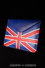 IPad manica 1 2 3 4 5 AIR (Union Jack Pelle Di Agnello Blu) Custodia Cover in vera pelle