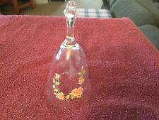 Avon 24% lead crystal bell with pink roses
