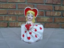 Vintage Relpo # 6155 Porcelain Heart Valentine Envelope Planter Blonde Hair Girl