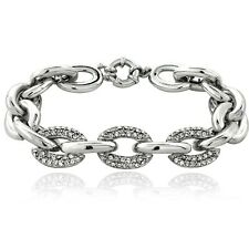 "Swarovski Elements Link Bracelet, 7.5"" in Brass"