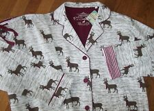 NWT PJ Salvage Ivory/Brown/Wine WINTER MOOSE Cotton Flannel Pajama/Lounge Set L