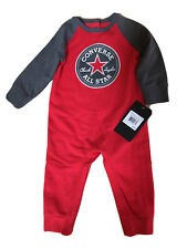 NWT CONVERSE Baby Boy Long Sleeve Red Sweatsuit Romper 9 Months,$30