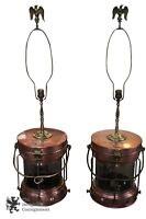 2 Rare Antique Copper Converted Maritime Nautical Lanterns Table Ship Lamps 41""