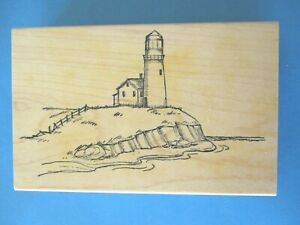 LIGHTHOUSE Rubber Stamp ART IMPRESSIONS Scenery OCEAN Beach