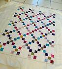 "Unfinished Batik Quilt Top 42"" x 54"" Multicolor on White"