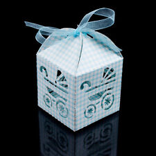 48xBaby Carriage Laser Cut Candy Gift Boxes Ribbon Wedding Favor Baby Shower Box