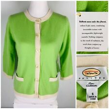 Talbots Small Petites Sweater Cardigan Green 2 Ply 100% Cashmere NWT (Defects)