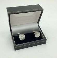 Lalique Round Button Solid Four Swallow Hirondelle Pair Cufflinks, Pladium