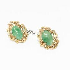 NYJEWEL Brand New CJS 14k Yellow Gold Jadeite Jade Big Earrings