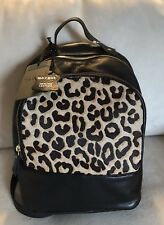 NWT Margot Black Leather And Hair Calf Animal Print Backpack