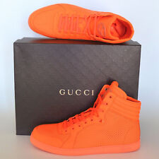 GUCCI New sz 12 G - US 12.5 Orange Neon Designer High Top mens Shoes Sneakers