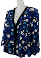 Kasper~Women's Plus Size 16W~Blue/White Blazer Separates Open Front Jacket Lined