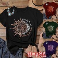 Women Casual Summer Sun Moon Graphic Print Short Sleeve Loose Tops T-shirt