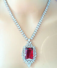 18 K WHITE OVER GLOMURES RED RUBY NECKLACE EARRING SET FOR BRIDAL,PARTY,