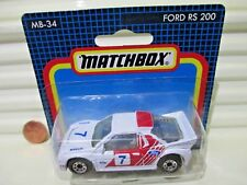 Matchbox 1986 MB34 FORD RS200 Car New in Near Mint Bubble Package
