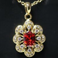 "Red Ruby AAA CZ Flower Pendant Necklace 18"" Chain 14K Yellow Gold Plated Jewelry"