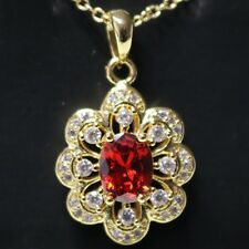 Vintage Antique Oval Red Ruby Flower Pendant Necklace Women Wedding Jewelry Gift