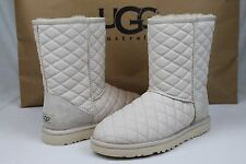 Ugg Australia Classic Short Quilted Leather Fresh Snow Sheepskin Boot Size 6 US