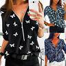 Women Ladies Plus Size Print Zipper Blouse Long Sleeve V-neck Pullover Tops