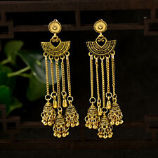 Retro Women Bell Gypsy Gemstone Tassel Bead Jhumka Indian Charm Tassel Earrings