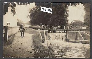 Postcard Watford Hertfordshire the Lock gates Cassiobury Park towpath horse RP