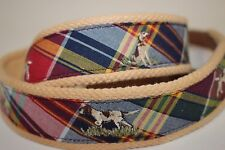 NWT RALPH LAUREN Size 38 Men's MADRA Plaid Embroidered DOG Leather/Cotton Belt