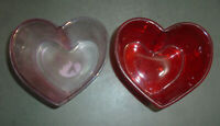 VALENTINE'S DAY GLASS HEART CANDY DISH BOWLS RED LIGHT PINK LOT OF 2