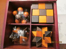 4 Puzzle Set, in wooden box, never opened, never used