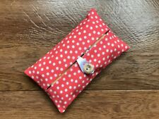 HANDMADE PACKET TISSUE HOLDER MADE WITH CATH KIDSTON RED SCATTERED SPOT FABRIC