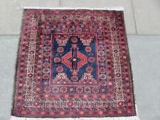 Vintage Hand Made Traditional Oriental Blue Red Wool Small Square Rug 79x80cm