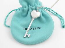 Tiffany & Co RARE Silver Heart Key Locket Pendant Necklace!
