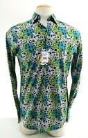 Robert Graham Hannam NWT $198 Men's Dress Shirt Sz Small Flip Cuff Aliens Black