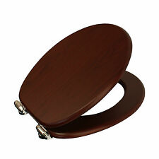 New Slow Close Wood Toilet Seat Cover Soft Closing Chrome Hinges Bathroom WC