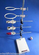 "Heavy Cast Iron Lab Stand 9"" x 6"" -9 Pc Kit w/3 Clamp 3 Boss Head, 2 Retort Ring"