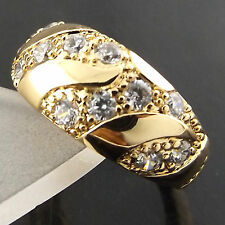 RING GENUINE REAL 18K YELLOW G/F GOLD SOLID ANTIQUE DIAMOND SIMULATED DESIGN