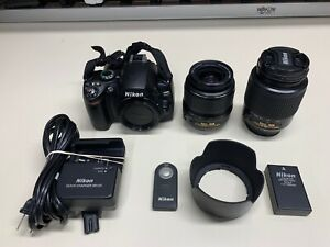 NIKON D40 6.1MP Digital SLR CAMERA W/ 18-55MM & 55-200MM Lenses FULLY FUNCTIONS